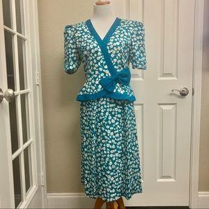 VTG David Warren Blue Two Piece Silk Skirt Set